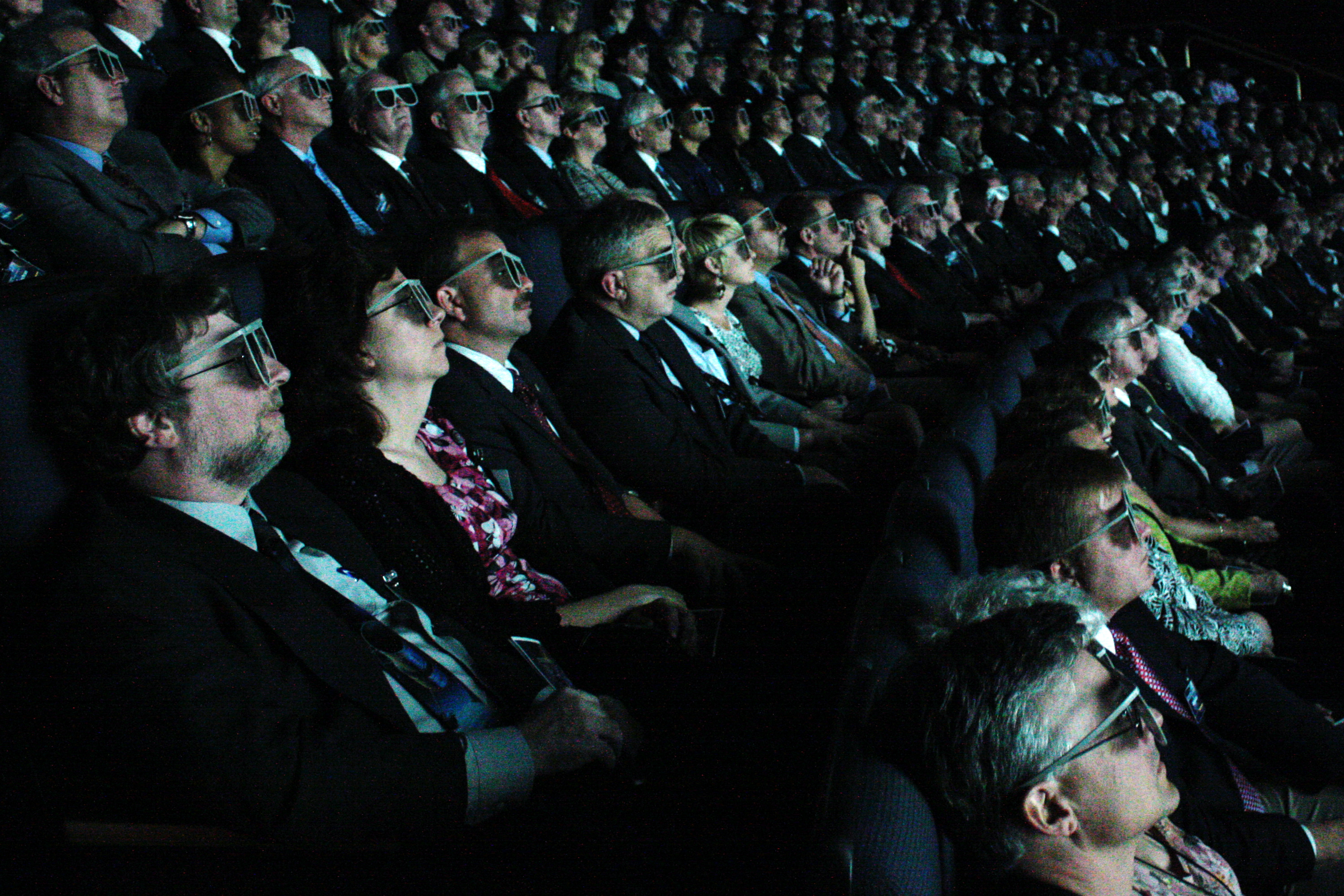 movie theater with 3d film playing